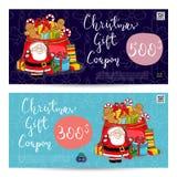 圣诞节与预付的总和模板的礼券 库存例证