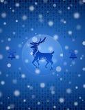 圣诞节与鹿和响铃的雪背景 免版税库存照片