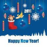 圣诞节与猴子和蓝色球的贺卡 免版税库存图片