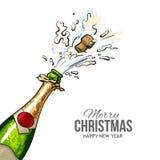 圣诞节与黄柏的贺卡流行在香槟瓶外面 免版税图库摄影