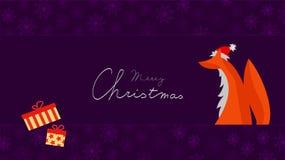圣诞节与Fox的贺卡与圣诞老人帽子 免版税库存照片