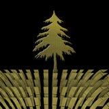 圣诞节与goldl杉树的贺卡 免版税库存图片