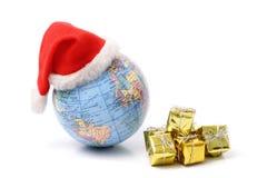 圣诞节世界和礼物 库存图片