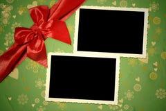圣诞节两个葡萄酒空的照片框架 库存照片