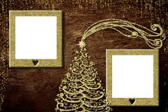 圣诞节两照片框架卡片 免版税库存图片