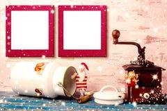 圣诞节两空的照片框架卡片 免版税图库摄影