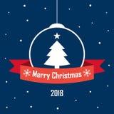 圣诞节中看不中用的物品构筑与与题字的一条红色丝带 免版税库存照片