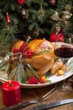 圣诞节为晚餐准备的土耳其 库存图片