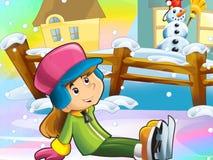 圣诞节乐趣滑冰 免版税库存照片
