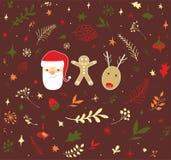 圣诞节乱画设计集合 免版税库存照片