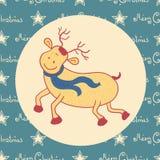 圣诞节乱画鹿 免版税库存图片