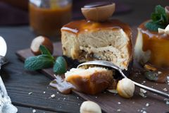 圣诞节乳酪蛋糕传统冬天蛋糕食谱 乳酪蛋糕切片 库存图片