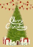 圣诞节事件的海报设计在与文本的简单的平的样式 在五颜六色的颜色的背景设计与圣诞树,礼物bo 向量例证
