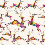 圣诞节五颜六色的三角驯鹿无缝的样式 库存图片