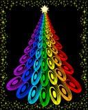 圣诞节五颜六色的原始结构树 免版税库存照片