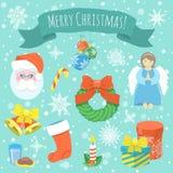 圣诞节五颜六色的图标 免版税库存照片