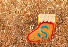 圣诞节五颜六色的曲奇饼形状的储存 库存图片