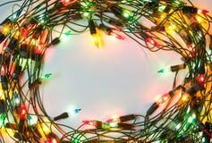 圣诞节五颜六色的框架光 免版税库存照片