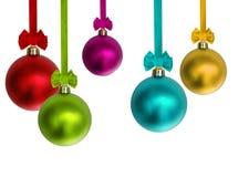 圣诞节五颜六色的装饰品 免版税库存照片