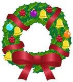 圣诞节五颜六色的装饰花圈 免版税库存照片