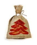 圣诞节亚麻布小包 免版税库存照片