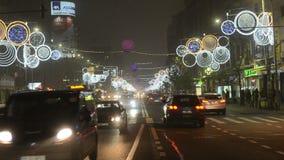 圣诞节交通在布加勒斯特 影视素材