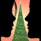 圣诞节人结构树妇女 图库摄影
