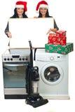 圣诞节介绍妇女 免版税图库摄影