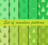 圣诞节仿造无缝的集 冷杉木和庆祝的标志 十冬天背景 向量 免版税图库摄影