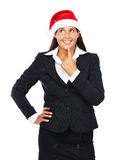 圣诞节企业圣诞老人妇女认为 免版税库存照片