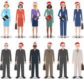 圣诞节企业队 配合概念 套商人和妇女的另外详细的例证在圣诞老人帽子 库存照片