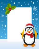 圣诞节企鹅垂直框架 免版税库存照片