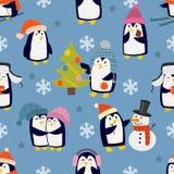 圣诞节企鹅无缝的样式传染媒介 免版税库存图片