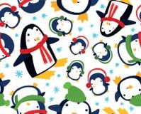 圣诞节企鹅无缝的背景 图库摄影