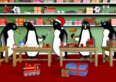 圣诞节企鹅车间 库存照片