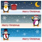 圣诞节企鹅水平的横幅 免版税库存图片