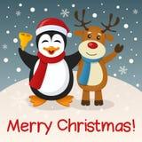 圣诞节企鹅&驯鹿 免版税库存图片