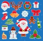 圣诞节传染媒介象新年Xmas基督徒欢乐装饰品标志的装饰例证 图库摄影
