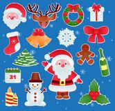 圣诞节传染媒介象新年Xmas基督徒欢乐装饰品标志的装饰例证 库存图片