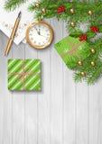 圣诞节传染媒介顶视图背景 库存图片