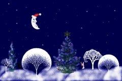 圣诞节例证晚上股票 免版税库存照片
