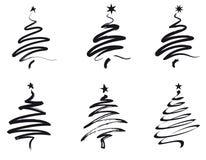 圣诞节例证线路结构树 免版税库存照片
