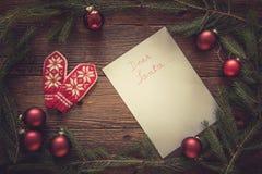 圣诞节信函圣诞老人 文本的空间 库存图片