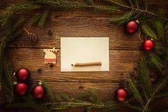 圣诞节信函圣诞老人 文本的空间 免版税库存图片