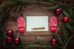 圣诞节信函圣诞老人 文本的空间 免版税图库摄影