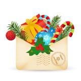 圣诞节信函邮件导航的圣诞老人 免版税库存图片