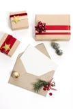圣诞节信包冷杉节假日霍莉例证信笺纸向量 库存图片