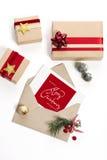 圣诞节信包冷杉节假日霍莉例证信笺纸向量 图库摄影