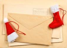圣诞节信包明信片葡萄酒 库存图片