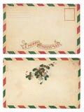 圣诞节信包葡萄酒 免版税图库摄影